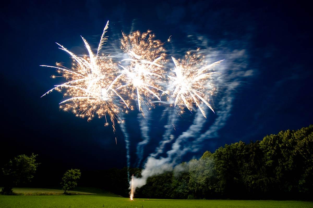 Rothdach-Feuerwerk-wald